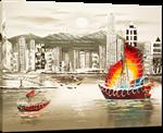 Picture of Landscapes - Hong Kong Harbour & Junk Boat - O030