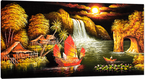 Picture of Landscapes - Chinese Waterfall Scene - O057
